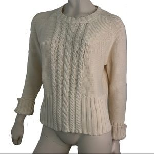 Eddie Bauer Sweater Crew Neck Cable Knit Cotton L